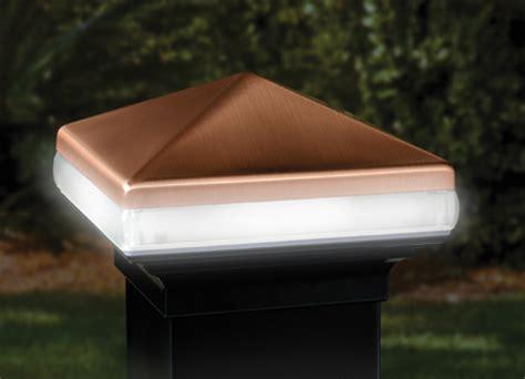 low voltage post cap lights deckorators aluminum light band post cap 4 quot black copper
