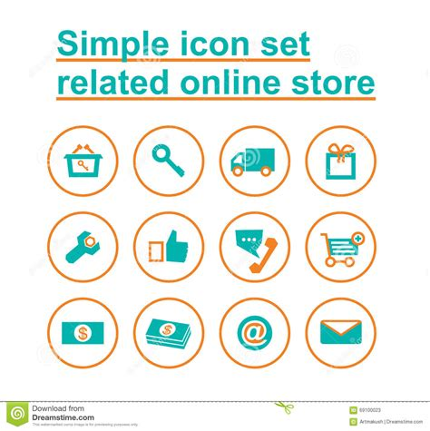 how to set up an online store simple icon set related online store stock vector image