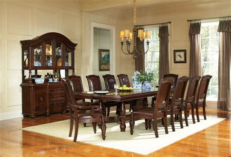 warm brown formal dining room sets for 8 with glass door antoinette warm brown extendable double pedestal dining