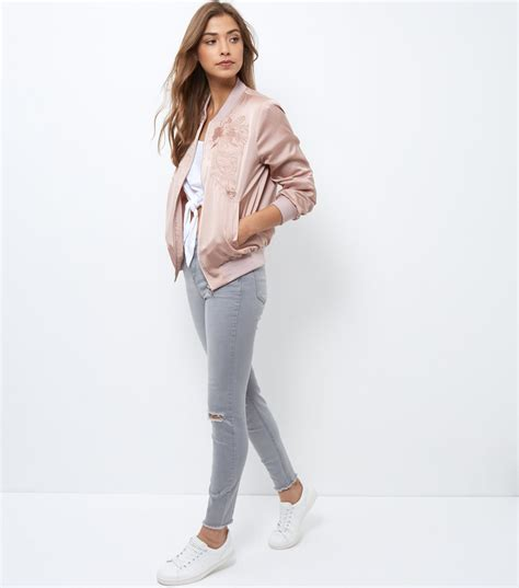 new look new look shell embroidered bomber jacket satiny