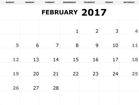 February 2017 Printable Calendar Pdf