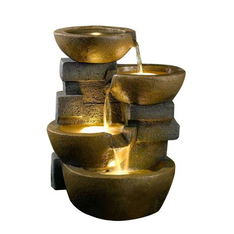 Outdoor Fountains With Lights Cellar Pots Water With Led Light Fcl037 The Home Depot