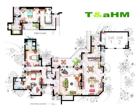 golden girls house floor plan artist draws detailed floor plans of famous tv shows