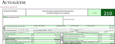 topes declaracion renta servicios personas naturales 2016 liquidador b 225 sico formulario 210 declaraci 243 n de renta