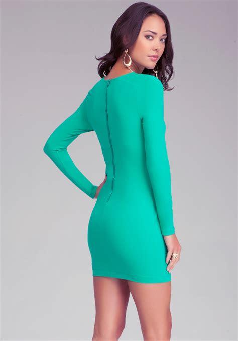 bebe leopard sleeve bodycon dress in green lyst