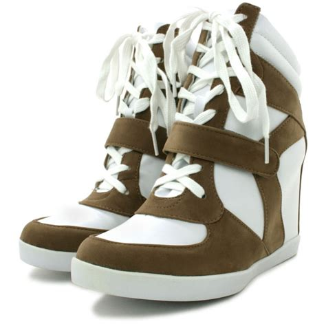 hi top wedge trainer shoes white