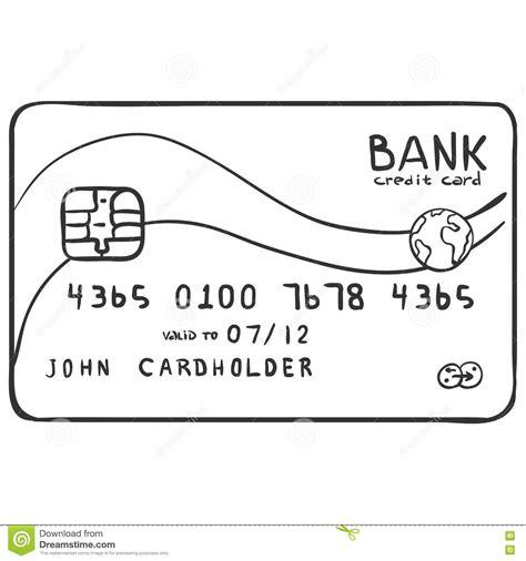 Credit Card Template Sketch vector single sketch bank credit card stock illustration