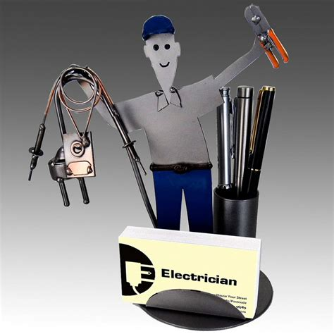 Whimsical Electrician Metal Business Card Holder With Pen Whimsical Desk Accessories