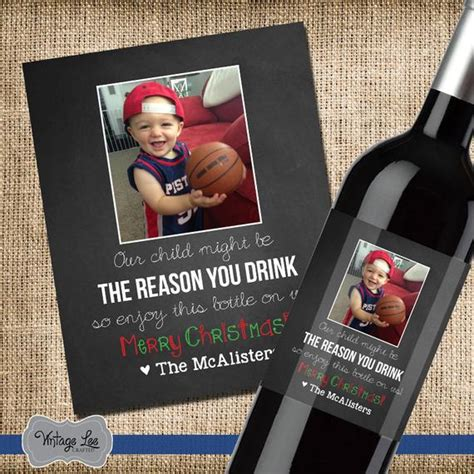 daycare provider christmas present wine label personalized gift