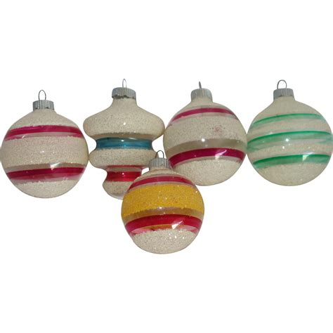 five shiny brite unsilvered mica christmas war ornaments