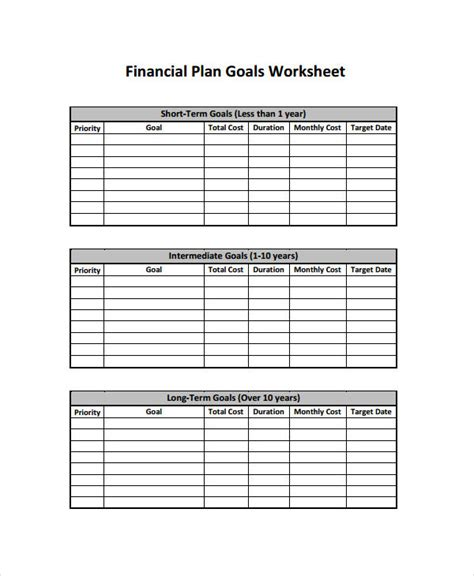 financial plan examples samples   word