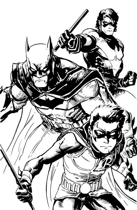 robin superhero coloring page batman nightwing and robin batfamily pinterest