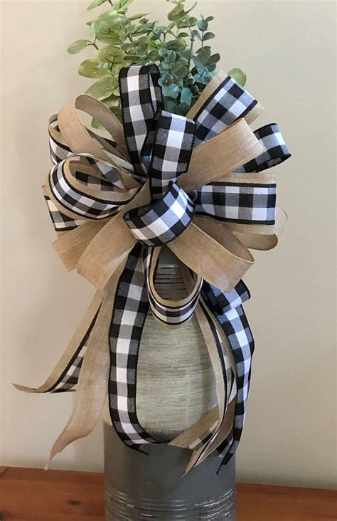 farmhouse bow black  white buffalo check wreath bow