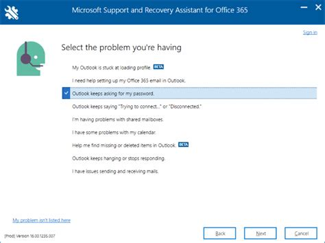 Office 365 Outlook Login Problem Office 365 Troubleshooting Tool From Microsoft