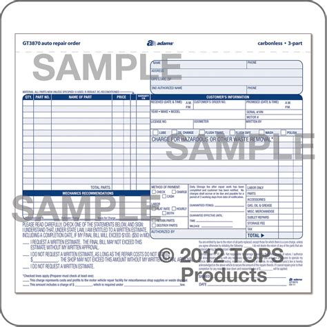 Auto Repair Order 3 Part Carbonless Auto Repair Order Template