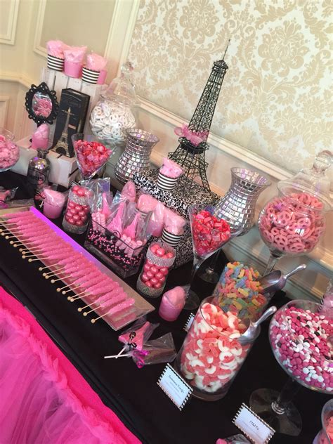 quinceanera themed birthday party paris themed candy table we made for a sweet 16 at meadow