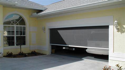 retractable garage door screen motorized garage screens power screens screenmobile