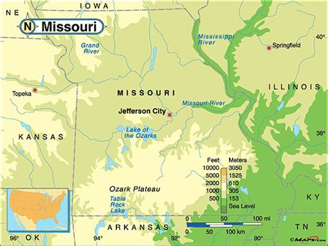 physical map of missouri missouri physical map by maps from maps world s