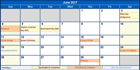 Calendar Of June June 2017 Calendar With Holidays Calendar Printable Free