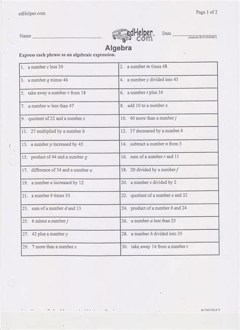 math worksheets translating algebraic expressions