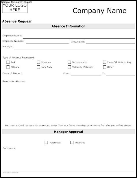 leave of absence request form template absence request template sle templates sle templates