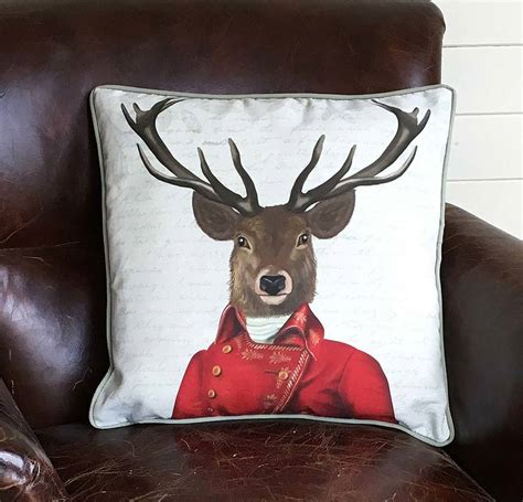 home decor red deer deer with red and gold jacket decorative cushion by