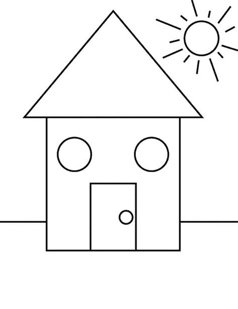 house shape shape house coloring page coloring pages