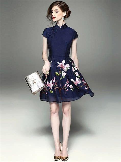 Dress Cheongsam Style chiffon flare embroidered qipao cheongsam dress qipao