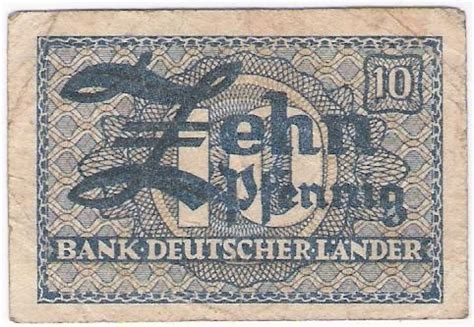 bank deutscher länder 1949 world non israeli banknotes germany 10 pfennig bank