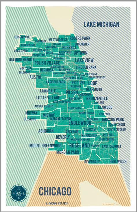 chicago map by neighborhood items similar to city of chicago map in turquoise vintage