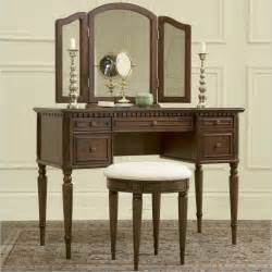 Makeup Vanity Table And Bench Powell Furniture Vanity Set In Warm Cherry Makeup Vanity