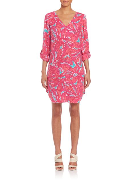 pink pattern tunic lilly pulitzer arielle tunic dress in pink lyst