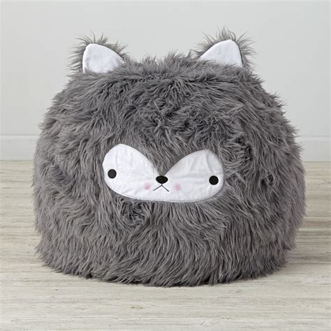 furry wolf bean bag chair  land  nod