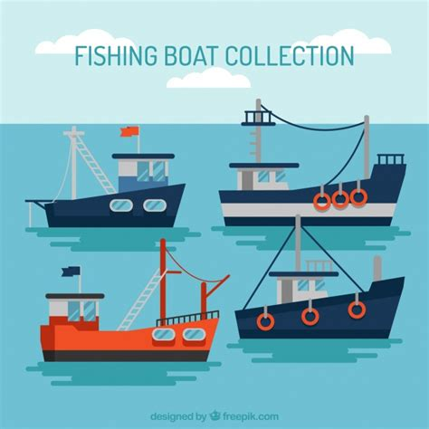 fishing boat vector various fishing boats in flat design vector free download