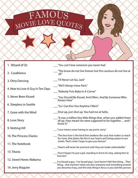 printable movie love quotes game printable bridal shower game famous movie love quotes