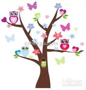Tree Wall Sticker Nursery cute owl tree birds flower branche wall decor decals kids