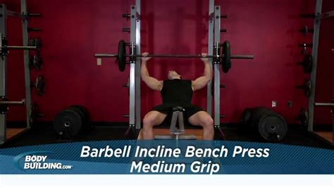medium grip bench press barbell incline bench chest exercise bodybuilding com