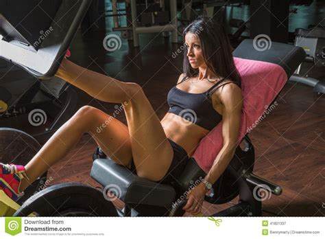 sexy bench press woman on leg press stock photo image 41801337