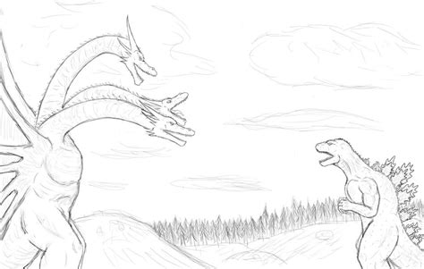 king ghidorah coloring page godzilla vs king ghidorah by contentialchion on deviantart