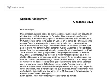 gcse spanish holiday essay