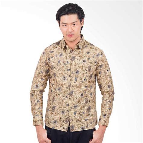 Batik Pria Slim Fit Lengan Panjang by Jual Parama Batik Creme Slim Fit Batik Kemeja Lengan