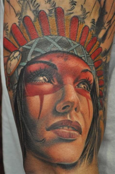 tattoo of us artists native american girl tattoo in color by roly viruez