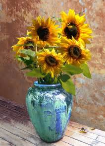 Sunflower In A Vase Sunflowers In Blue Green Vase Digital Art By Im Spadecaller