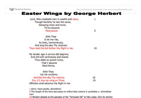 easter wings analysis commentary on easter wings by george herbert a level