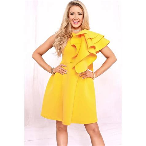 Dress Yellow Scuba adogirl yellow one shoulder ruffle scuba knitting fabric