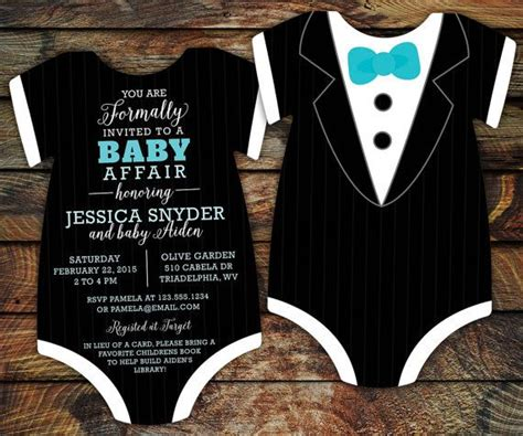 customized dapper tuxedo onesie baby shower invitation 10 tuxedo baby shower invitations black tie invitation
