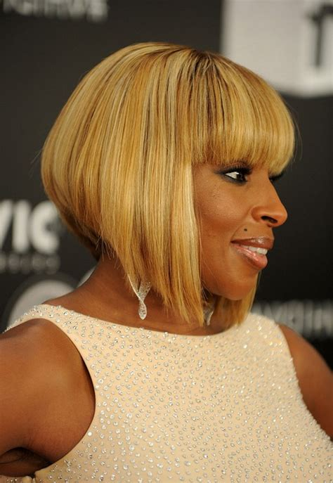 tapered bob haircut for black women side view of mary j blige inverted bob haircut for black