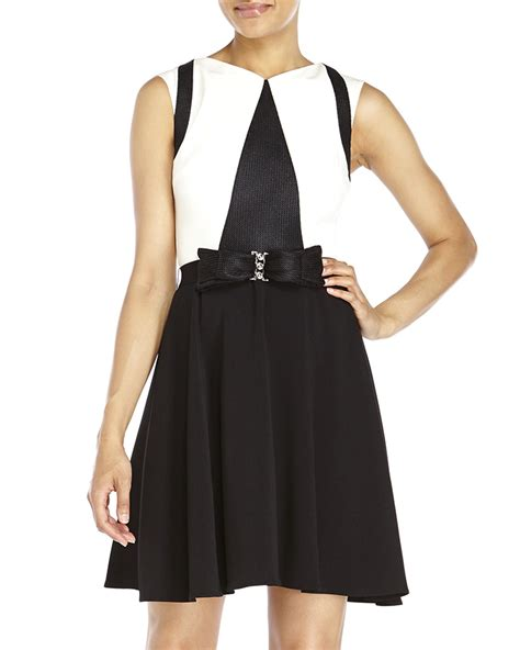 badgley mischka color block bow belt dress in white lyst