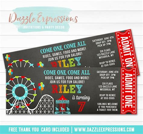 theme park tickets printable amusement park chalkboard ticket birthday