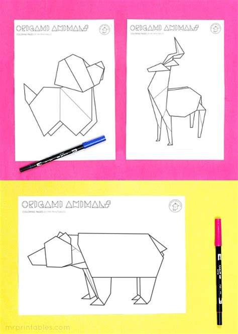 Origami Worksheets - origami animal coloring pages mr printables